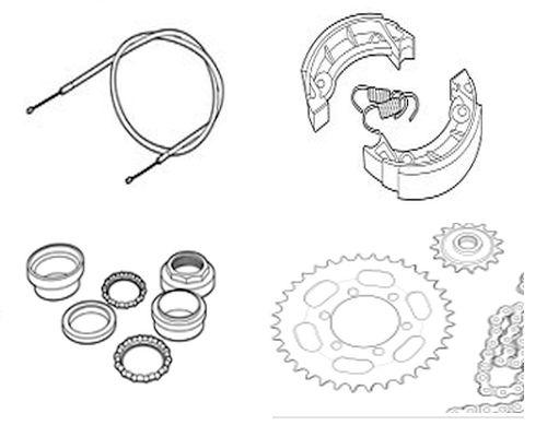 Bremsen, Ketten, Kettenräder und -Ritzel, Radachsen, Gabelteile & mehr
