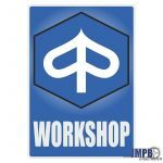 Workshop Aufkleber Piaggio English