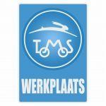 Werkplaats Aufkleber Tomos Blau Niederländisch