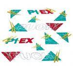 Aufklebersatz Puch P1 EX Grün/Gelb/Rot